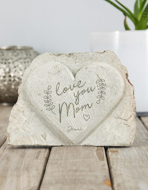 mothers-day: Personalised Love You Mom Stone Heart!