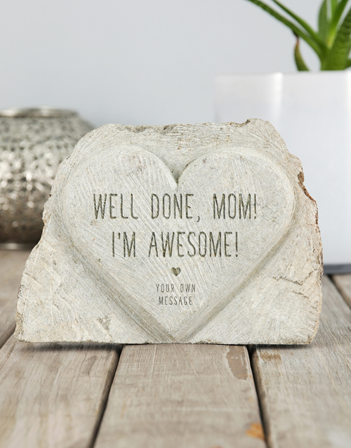 mothers-day: Personalised Well Done Mom Stone Heart!