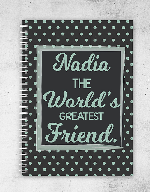 friendship: Personalised Dotted Greatest Friend Notebook!