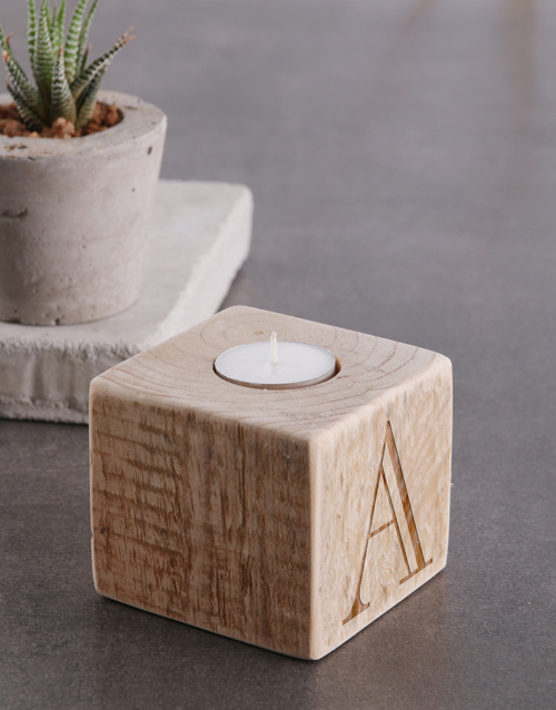 get-well: Personalised Monogram Square Candle Holder!