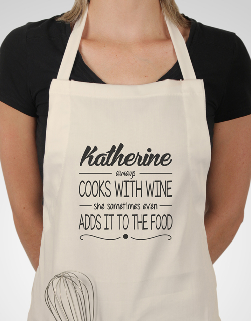 personalised: Personalised Cooks With Wine Apron!