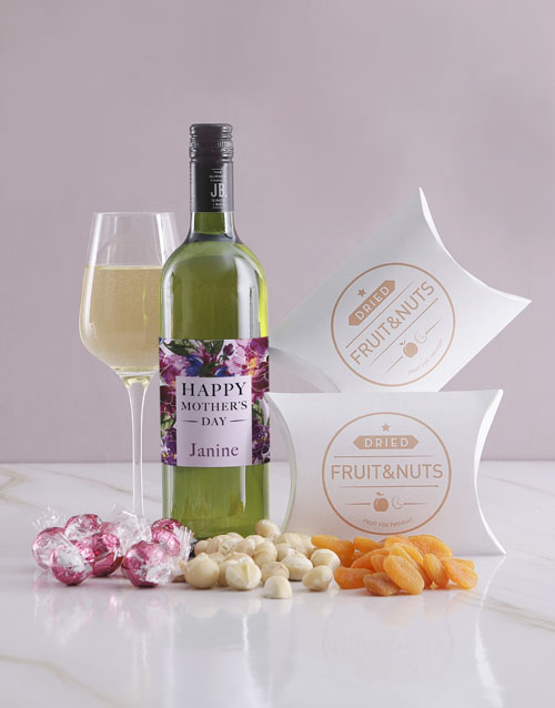 mothers-day: Personalised Fruits And Nuts Wine Hamper!