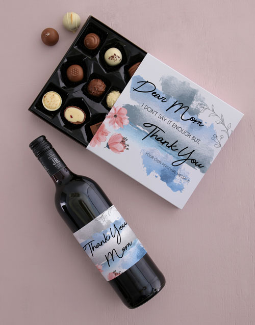 mothers-day: Personalised Thank You Mom Choc and Wine Combo!