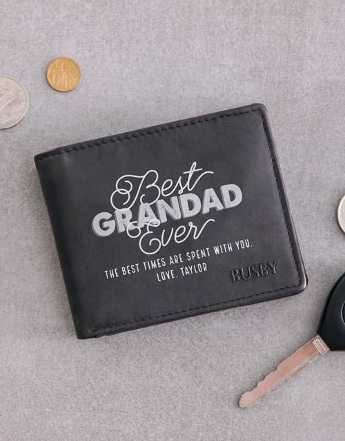 fathers-day: Personalised Grandad Busby Black Bilfold Wallet!