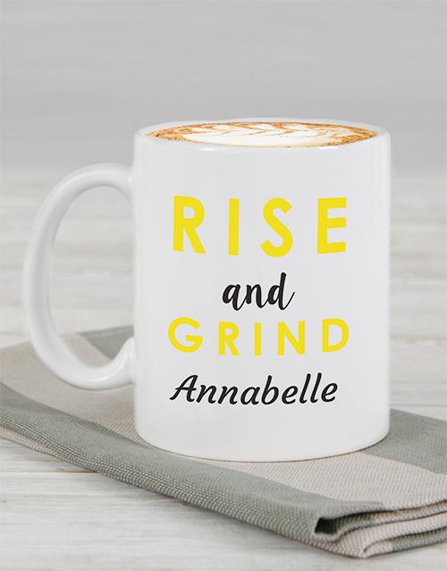 homeware: Personalised Rise and Grind Mug!