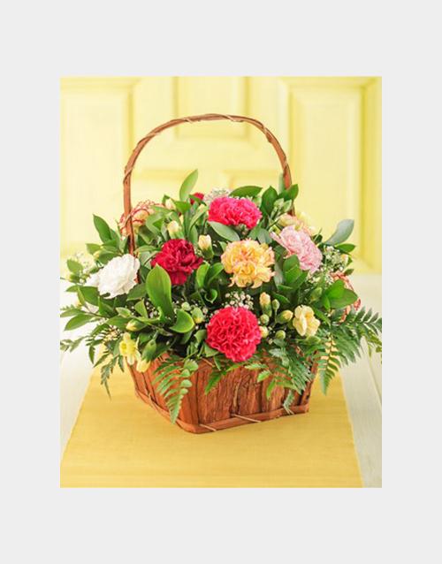 flowers: Mixed Carnation Basket!