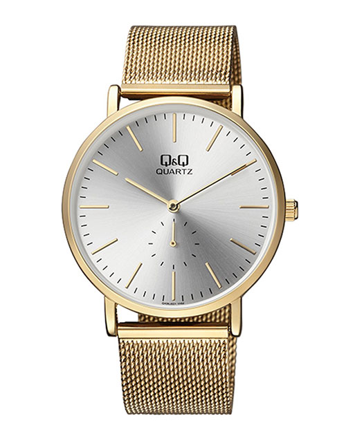 anniversary: QQ Gents Silver Dial Gold Plated Mesh Strap Watch!