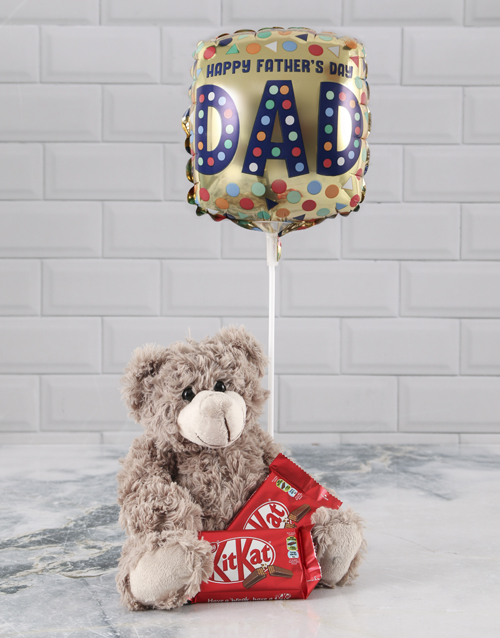 chocolate: Brown Teddy And Balloon Hamper For Dad !