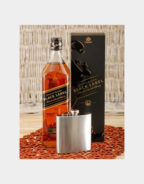 fine-alcohol: Johnnie Walker Black & Hip flask!