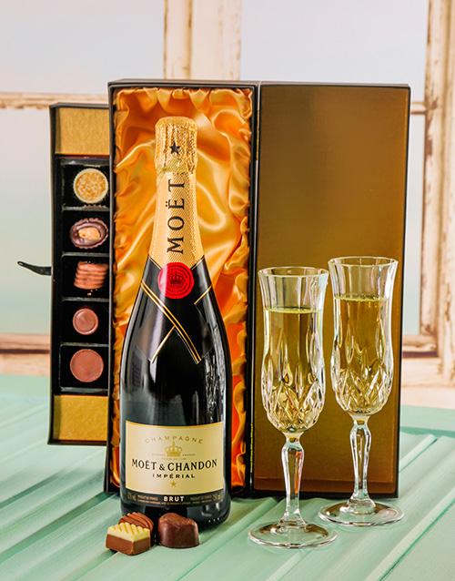 chocolate: Moet & Chandon Brut champagne with Handmade Chocs!