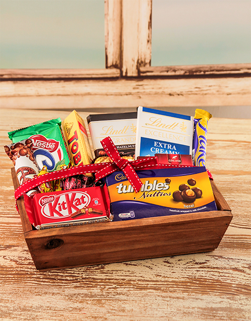 birthday: Small Wooden Crate  with Chocolates!
