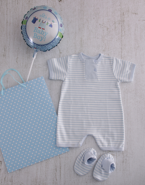 balloon: Baby Boy Baby Grow and Booties Set!