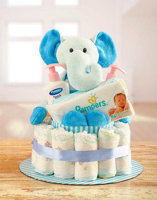 baby: Teddy Elephant Nappy Cake!