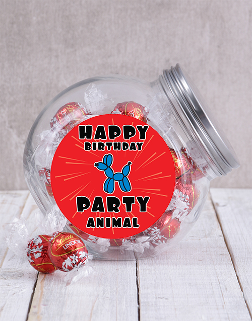 chocolate: Happy Birthday Party Animal Candy Jar!