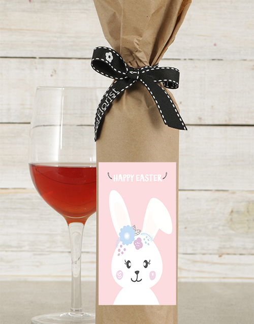 easter: Smiling Bunny Wine in Craft Paper!