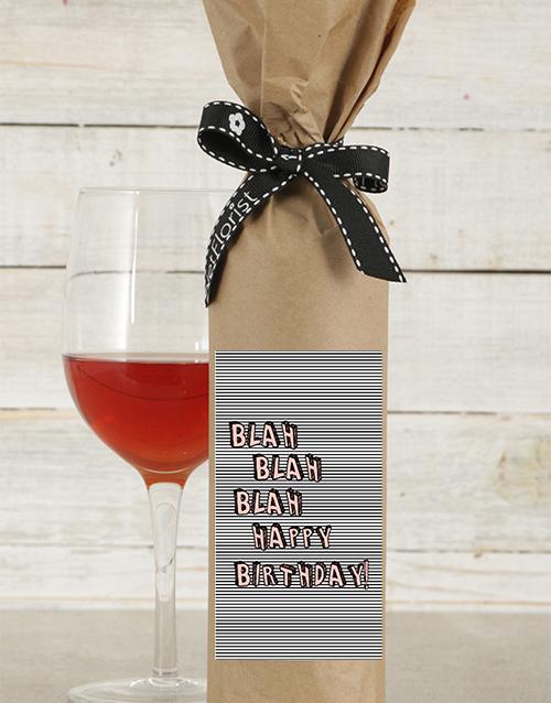 fine-alcohol: Blah Blah Birthday Wine in Craft Paper!