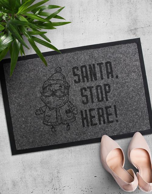 christmas: Santa Stop Here Doormat!