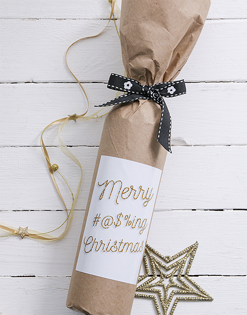 fine-alcohol: Expletive Christmas Wine in Craft Paper!