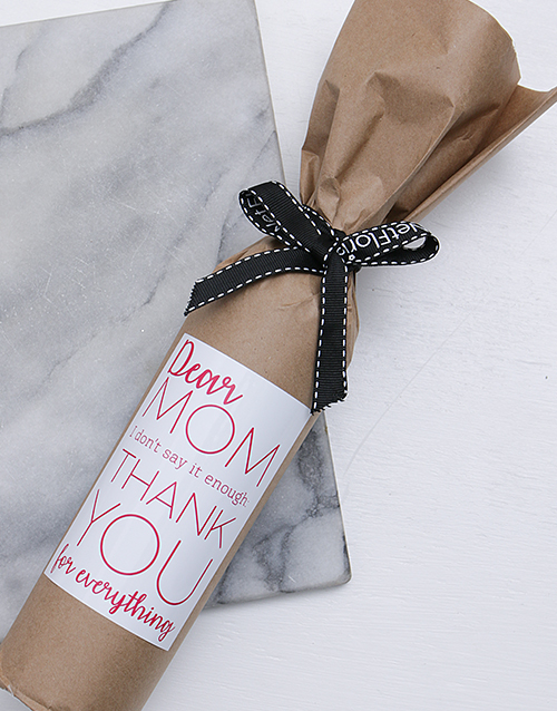 mothers-day: Love You Mom Wine in Craft Paper!