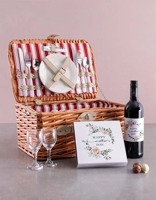 gourmet: Mothers Day Wine And Chocolate Combo In Basket!