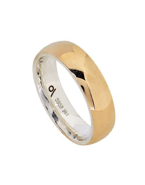men: Silver and Yellow Gold 6mm High Polish Gents Ring!