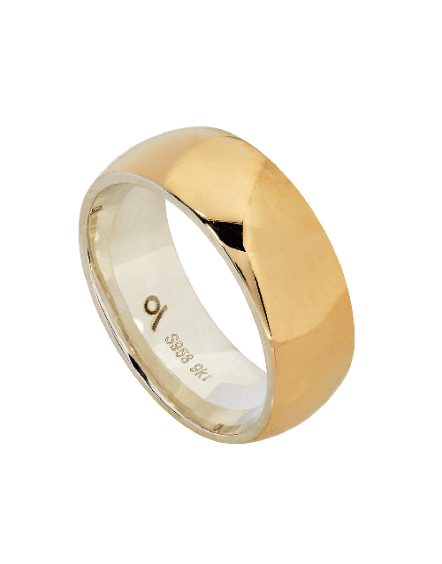 get-well: Silver and Yellow Gold 8mm High Polish Gents Ring!
