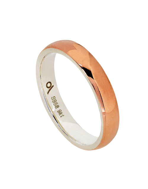 get-well: Silver and Rose Gold 4mm D Shape Gents Ring!