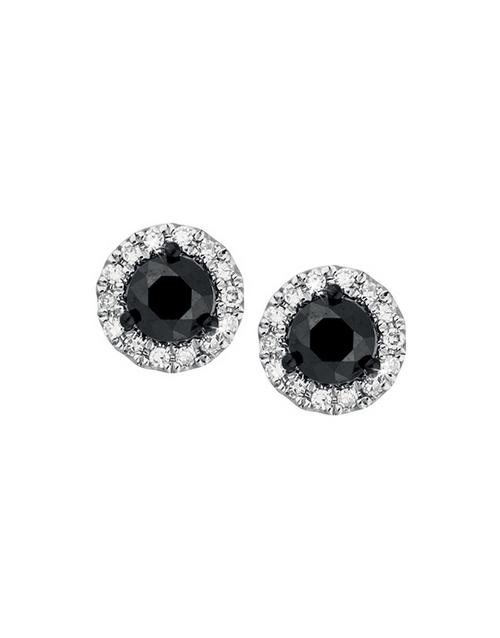 christmas: 9KT Round Black Diamond Halo Stud Earrings!