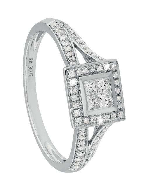 anniversary: 9KT Princess Square Top Design Diamond Ring!