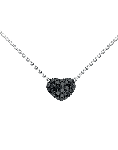anniversary: 9KT Pave Set Black Diamond Heart Necklace!