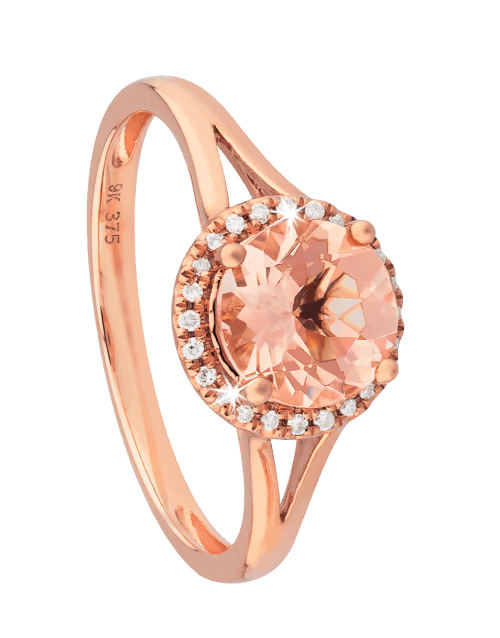 anniversary: 9KT Rose Gold Round Morganite Split Shank Ring!