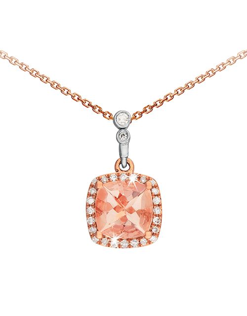 anniversary: 9KT Rose and White Gold Cushion Morganite Necklace!