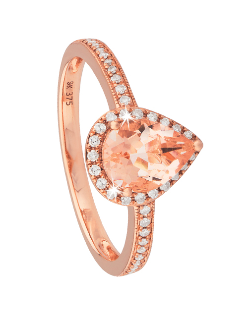 anniversary: 9KT Pear Shape Morganite and Diamond Ring!