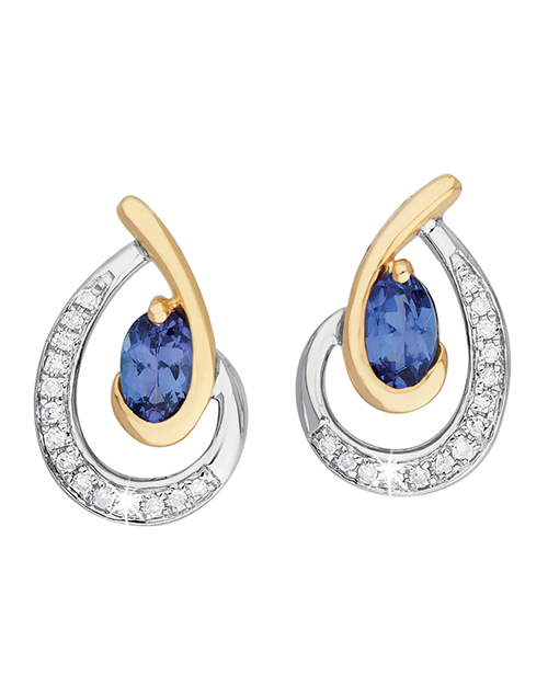 anniversary: 9KT Gold Oval and Diamond Earrings!