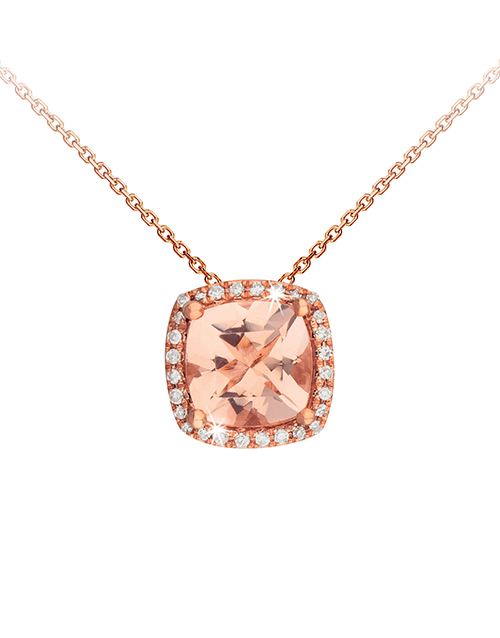 anniversary: 9KT Rose Gold Cushion Cut Morganite Necklace!