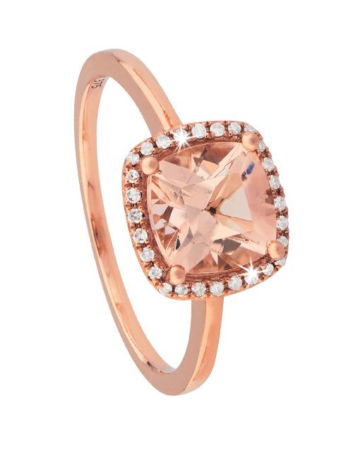 anniversary: 9KT Rose Cushion Cut Morganite and Diamond Ring!