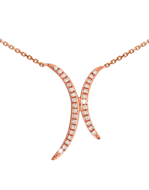 anniversary: 9KT Double Half Crescent with Diamonds Necklace!