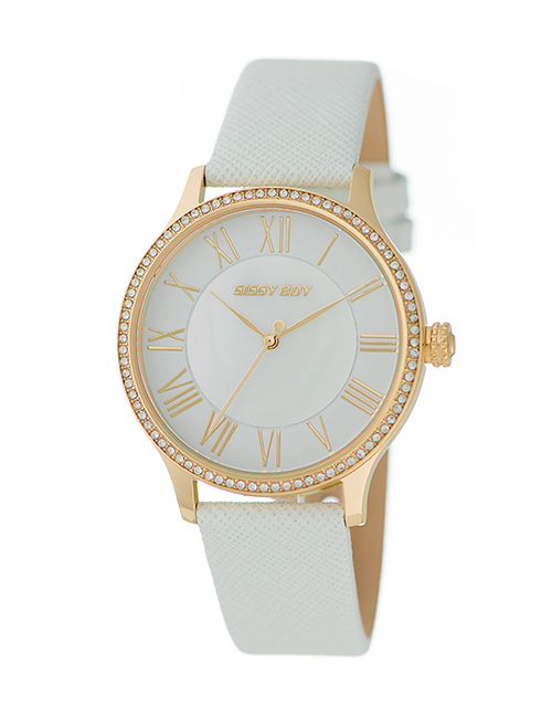anniversary: Sissy Boy Elegance White and Gold Leather Watch!