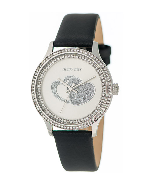 anniversary: Sissy Boy Glamour Black Leather Watch!