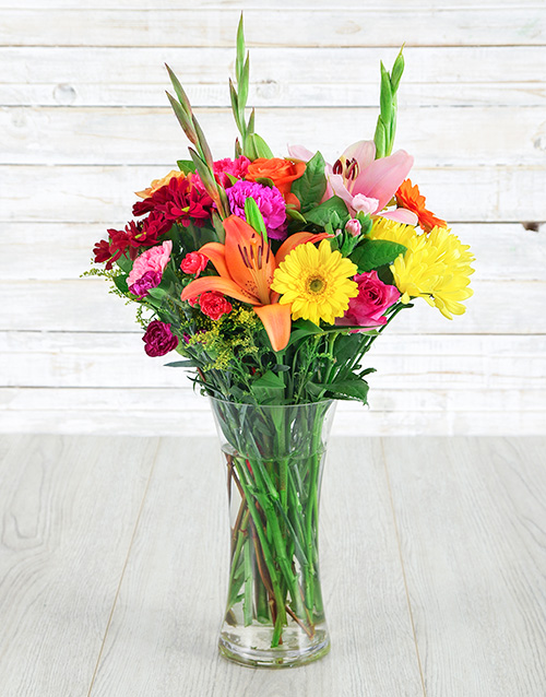 flowers: Cheerful Mix in a Glass Vase!