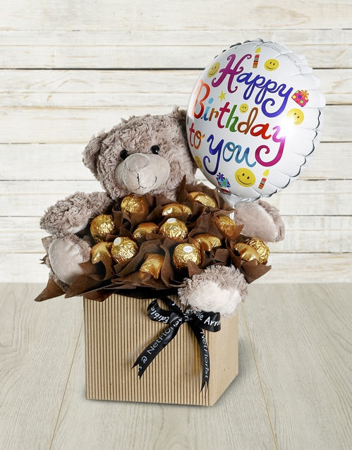 edible-arrangments: Choc Teddy Birthday Edible Arrangement!