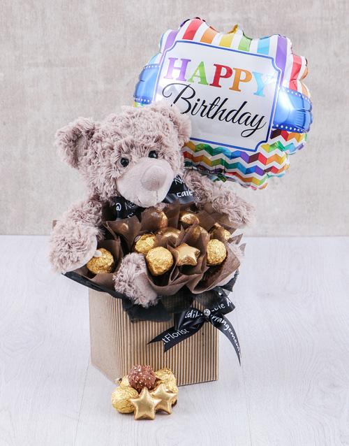 flowers: Birthday Choc and Teddy Arrangement!