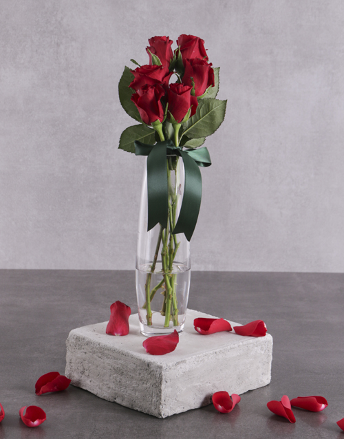 flowers: Six Red Roses In Vase!