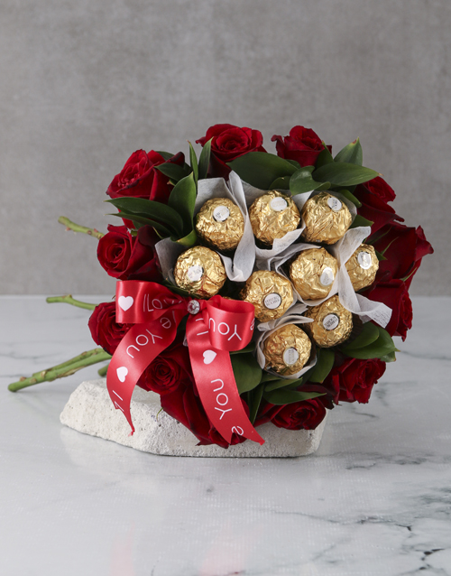 bouquets: Roses and Ferrero Delight!