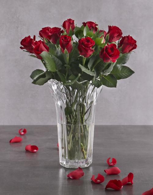 vase: Elegant Red Roses in Crystal Vase!
