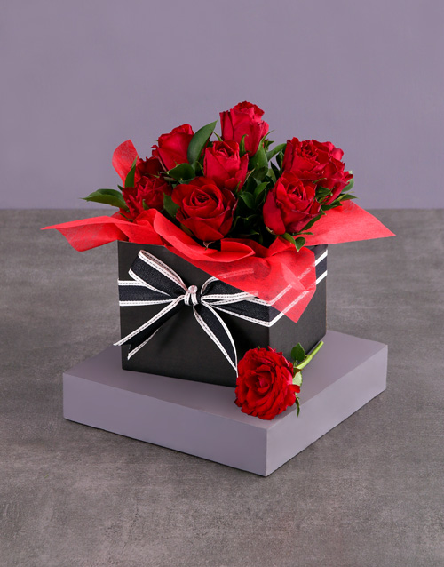 flowers: Striped Red Rose Box!