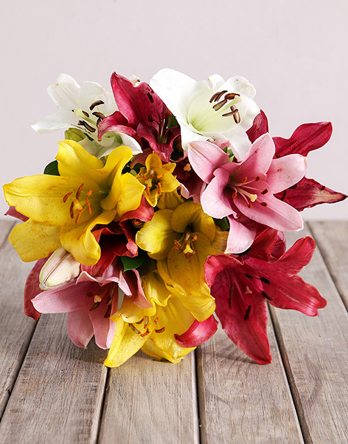 bouquets: Mixed Asiflorum Lily Bouquet!