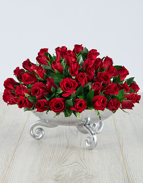 colour: Red Roses in a Silver Bowl!