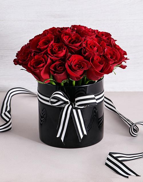 roses: Red Beauty in Black Cylinder Vase!