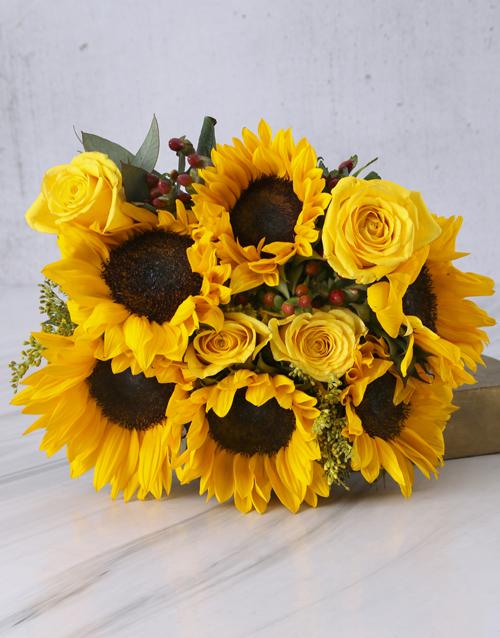 sunflowers: Sunflower and Gum Leaf Bouquet!